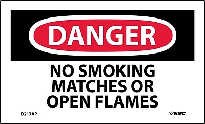 Labels - Danger, No Smoking Matches Or Open Flame, 3X5, Adhesive Vinyl, 5/Pk