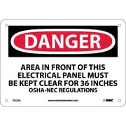 Danger, Area In Front Of This Electrical Panel Must Be Kept Clear For 36 Inches