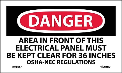 Labels - Danger, Area In Front Of This Electrical Panel. . ., 3X5, Adhesive Vinyl, 5/Pk