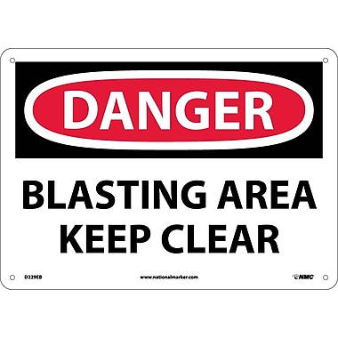 Danger, Blasting Area Keep Clear, 10X14, Fiberglass