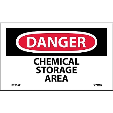 Labels Danger, Chemical Storage Area, 3