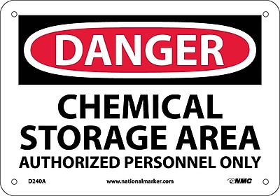 Danger, Chemical Storage Area Authorized Personnel Only, 7X10, .040 Aluminum