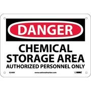Danger, Chemical Storage Area Authorized Personnel, 7X10, Rigid Plastic