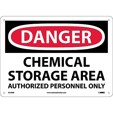 Danger, Chemical Storage Area Authorized Personnel, 10X14, Rigid Plastic