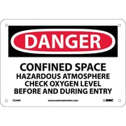 Danger, Confined Space Hazardous Atmosphere. . ., 7X10, Rigid Plastic