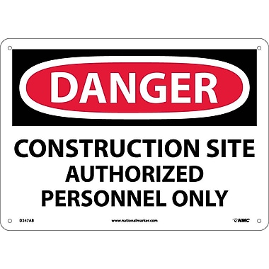 Danger, Construction Site Authorized Personnel Only, 10X14, .040 Aluminum