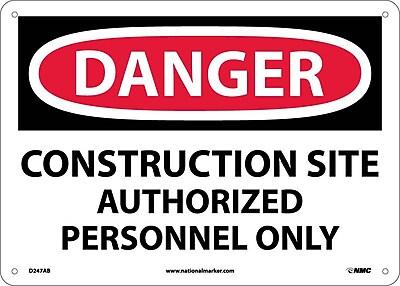 Danger, Construction Site Authorized Personnel Only, 10X14, .040 Aluminum
