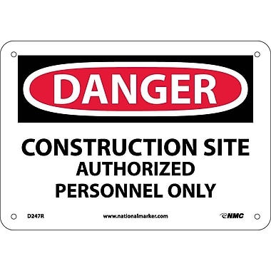 Danger, Construction Site Authorized Personnel. . ., 7X10, Rigid Plastic