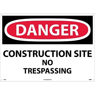 Danger, Construction Site No Trespassing, 20X28, .040 Aluminum