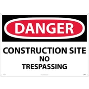 Danger, Construction Site No Trespassing, 20X28, .040 Aluminum