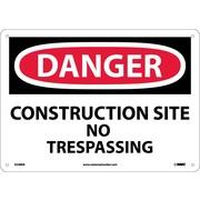 Danger, Construction Site No Trespassing, 10X14, Fiberglass