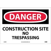 Danger, Construction Site No Trespassing, 10X14, Adhesive Vinyl