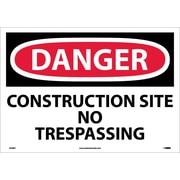 Danger, Construction Site No Trespassing, 14X20, Adhesive Vinyl