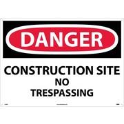 Danger, Construction Site No Trespassing, 20X28, Rigid Plastic
