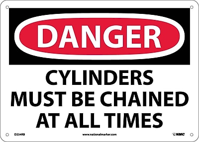 Danger, Cylinders Must Be Chained At All Times, 10X14, Rigid Plastic
