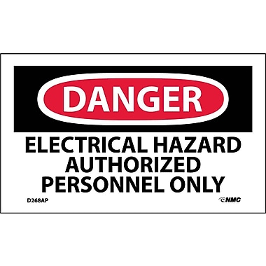 Labels Danger, Electrical Hazard Authorized Personnel Only, 3