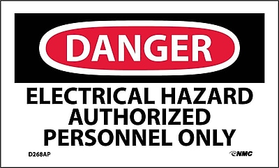 Labels - Danger, Electrical Hazard Authorized Personnel Only, 3X5, Adhesive Vinyl, 5/Pk
