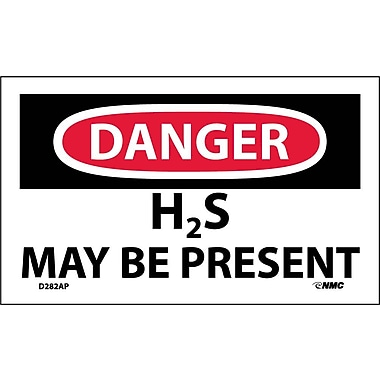 Labels - Danger, H2S May Be Present, 3X5, Adhesive Vinyl, 5/Pk