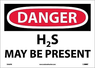 Danger, H2S May Be Present, 10X14, Adhesive Vinyl