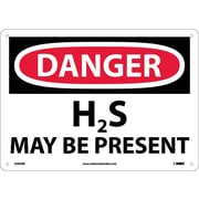Danger, H2S May Be Present, 10X14, .050 Rigid Plastic