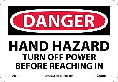 Danger, Hand Hazard Turn Off Power Before. . ., 7X10, Rigid Plastic