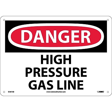 Danger, High Pressure Gas Line, 10X14, .040 Aluminum