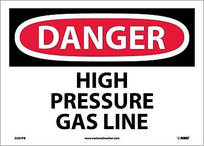Danger, High Pressure Gas Line, 10X14, Adhesive Vinyl