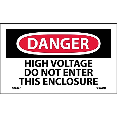 Labels - Danger, High Voltage Do Not Enter This Enclosure, 3X5, Adhesive Vinyl, 5/Pk