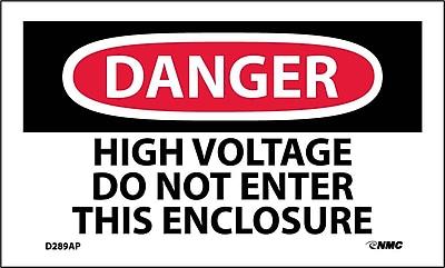 Labels - Danger, High Voltage Do Not Enter This Enclosure, 3X5, Adhesive Vinyl, 5/Pk
