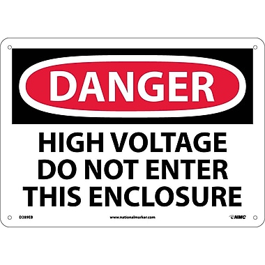 Danger, High Voltage Do Not Enter This Enclosure, 10X14, Fiberglass