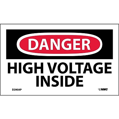 Labels - Danger, High Voltage Inside, 3X5, Adhesive Vinyl, 5/Pk