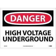 Danger, High Voltage Underground, 10X14, Adhesive Vinyl