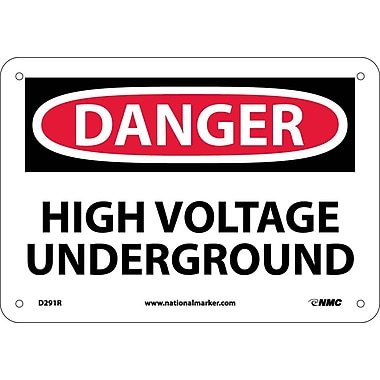 Danger, High Voltage Underground, 7X10, Rigid Plastic
