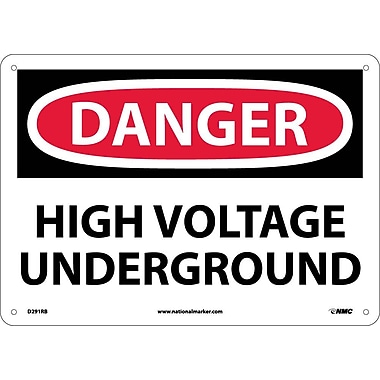 Danger, High Voltage Underground, 10X14, Rigid Plastic