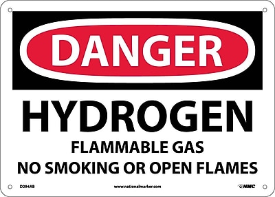 Danger, Hydrogen Flammable Gas No Smoking Or Open. . ., 10X14, .040 Aluminum