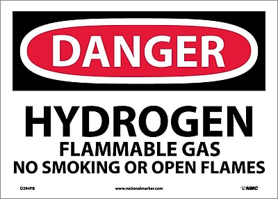 Danger, Hydrogen Flammable Gas No Smoking Or Open. . ., 10X14, Adhesive Vinyl