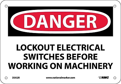 Danger, Lockout Electrical Switches Before Working, 7X10, Rigid Plastic