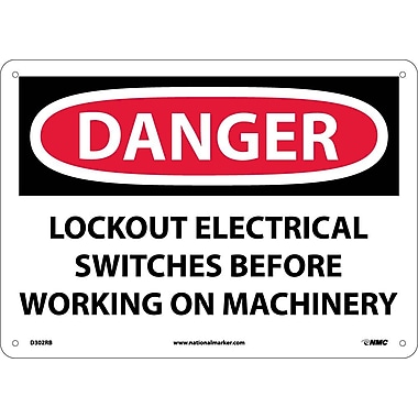 Danger, Lockout Electrical Switches Before Working, 10X14, Rigid Plastic
