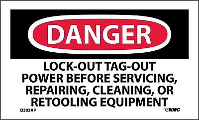Labels - Danger, Lockout Tagout Power Before Servicing.., 3X5, Adhesive Vinyl, 5/Pk