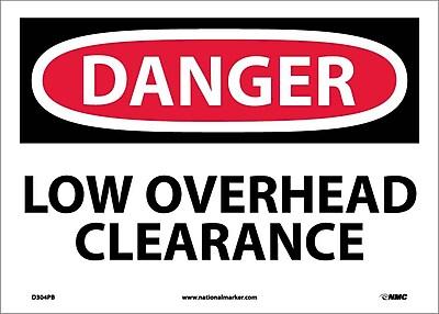 Danger, Low Overhead Clearance, 10X14, Adhesive Vinyl
