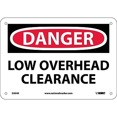 Danger, Low Overhead Clearance, 7X10, Rigid Plastic