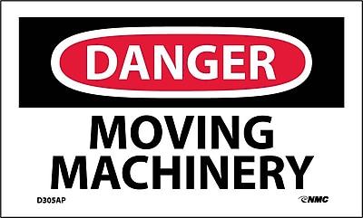 Labels - Danger, Moving Machinery, 3X5, Adhesive Vinyl, 5/Pk