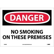 Danger, No Smoking On These Premises, 10X14, Adhesive Vinyl
