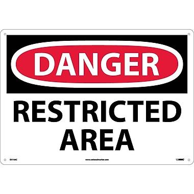 Danger Restricted Area, 14X20, .040 Aluminum