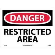 Danger, Restricted Area, 10X14, Adhesive Vinyl