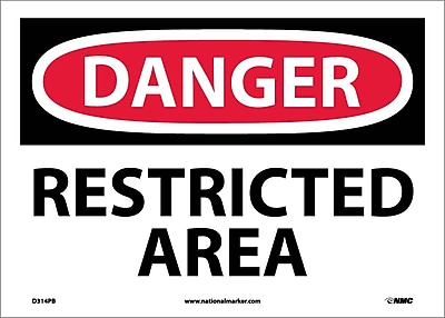 Danger, Restricted Area, 10X14, Adhesive Vinyl