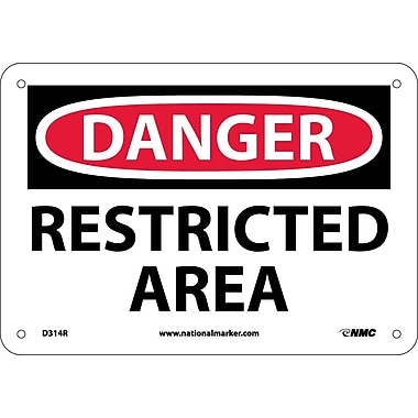 Danger, Restricted Area, 7X10, Rigid Plastic