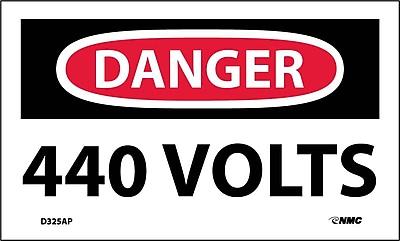 Labels - Danger, 440 Volts, 3X5, Adhesive Vinyl,5/Pk