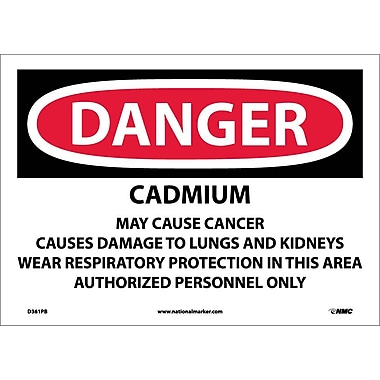 Danger, Cadmium Cancer Hazard Can Cause Lung And. . ., 10X14, Adhesive Vinyl