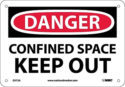Danger, Confined Space Keep Out, 7X10, .040 Aluminum